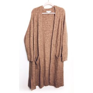 H&M   Camel Brown Alpaca Duster Cardigan Sweater